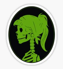 Green, Skull ponytail profile logo Sticker