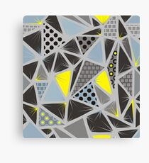 Structure of triangles with different textures Canvas Print