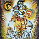 Krishna - Flute -Cow by Harsh  Malik