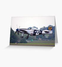 P51D Landing. Greeting Card