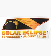 2017 Solar Eclipse Across Tennessee Cities Map Illustration Poster