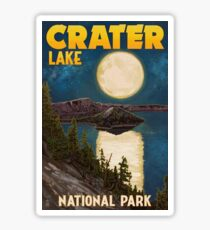 Crater Lake National Park Vintage Travel Decal - Night Scene Sticker