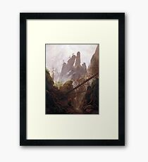 Casper David Friedrich Rocky Landscape in the Elbe Sandstone Mountains Framed Print