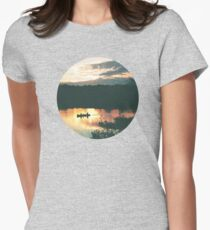 Canoe at Sunset Womens Fitted T-Shirt