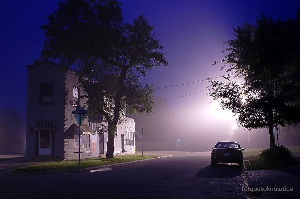foggy night street scene by foryoutoknowtice