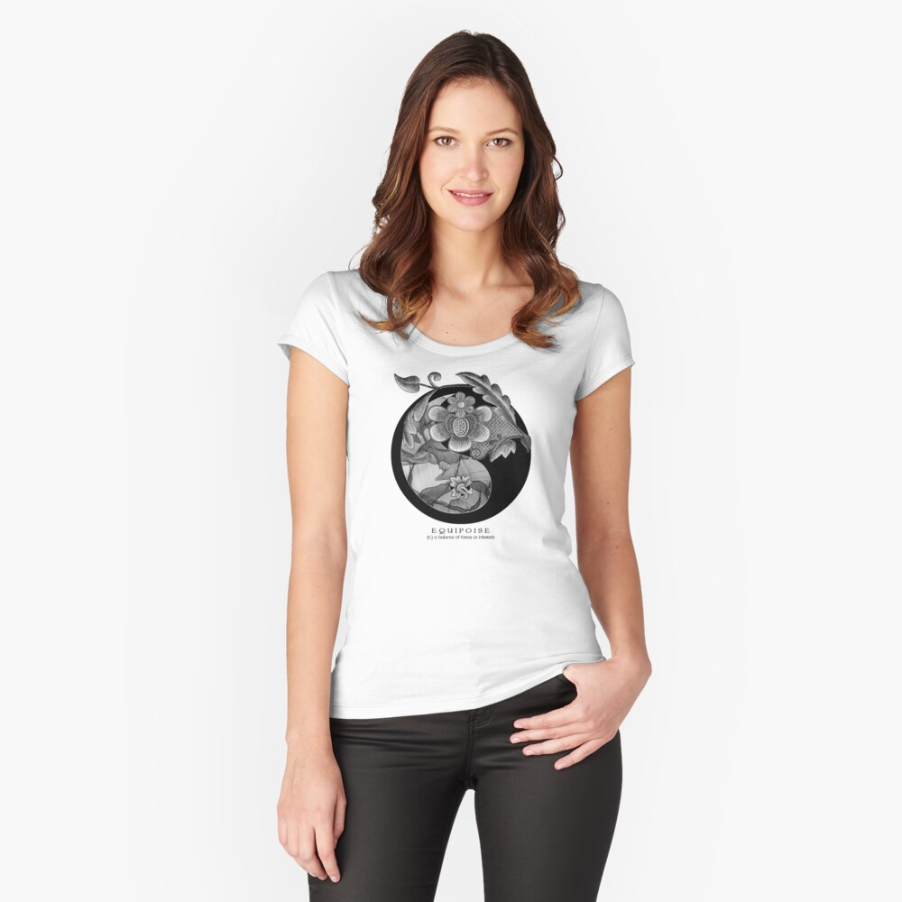 EQUIPOISE ii... 'a Beautiful Balance of Opposites' Yin Yang Women's Fitted Scoop T-Shirt Front