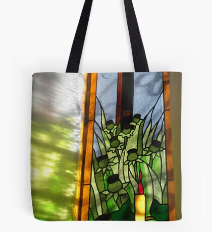 Stained Glass Window Reflection Tote Bag