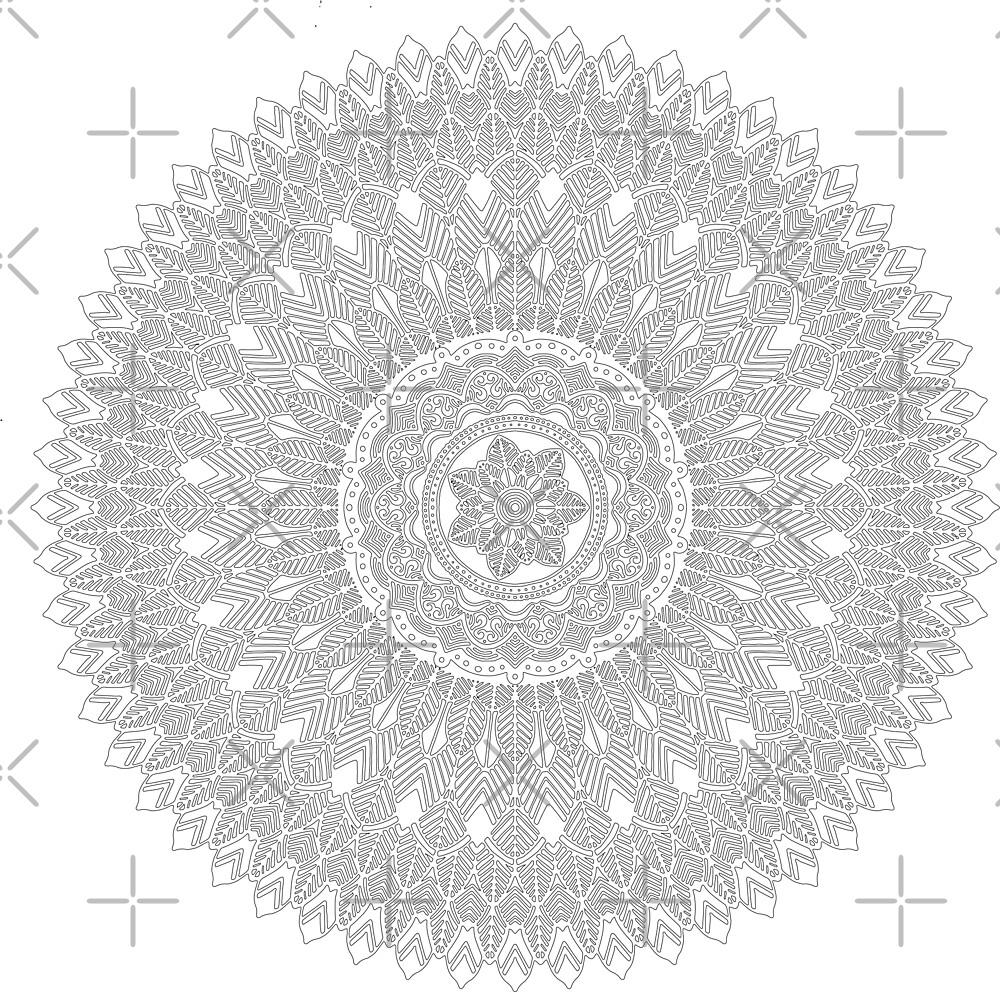 white and black feather hippie boho mandala by Jacob Thomas