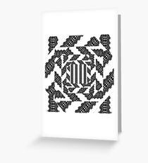 BLACK AND WHITE HERRINGBONE Greeting Card