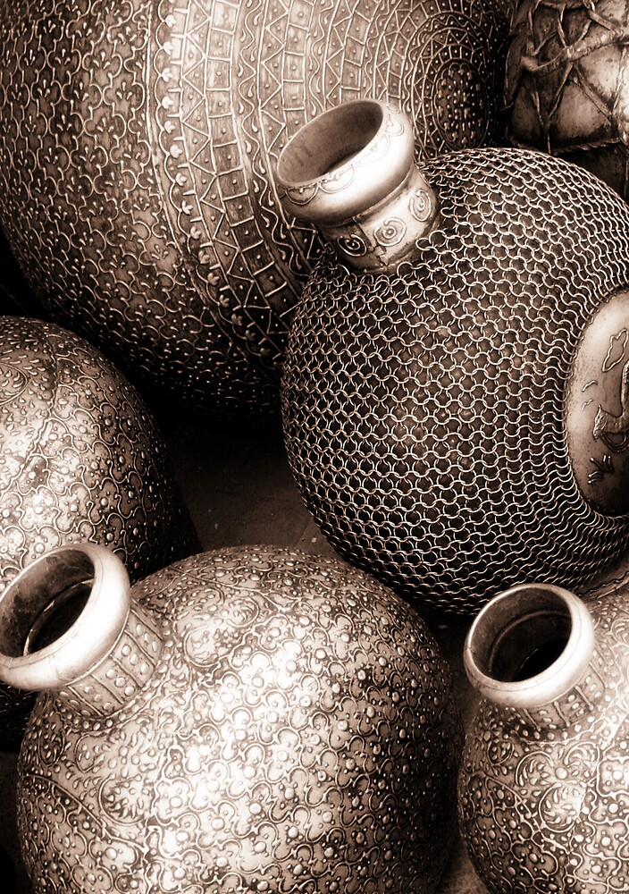 Copper Pots at the souk by marycarr