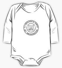 Body de manga larga para bebé SENDERISMO ESCALADA MONTAJE WASHINGTON NEW HAMPSHIRE USGS GEOCACHING BENCHMARK BANCO MARCA GEOLOGICAL SURVEY