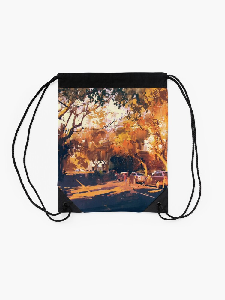 Alternate view of Autumn Day Painting Drawstring Bag