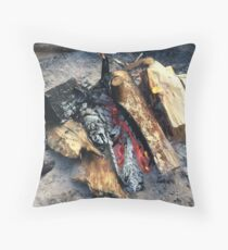 Bonfire in the rain Throw Pillow