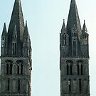 Not quite twin towers on facade L Abbaye aux Hommes, Caen 19840819 0014  by Fred Mitchell