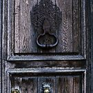 Door Knockers on entrance door to L Abbaye aux Hommes, Caen 19840819 0015  by Fred Mitchell