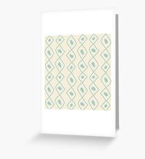 Seamless sketch vector pattern. White vertical twigs lines and zigzags with circles on brown background. Hand drawn abstract african style texture Greeting Card