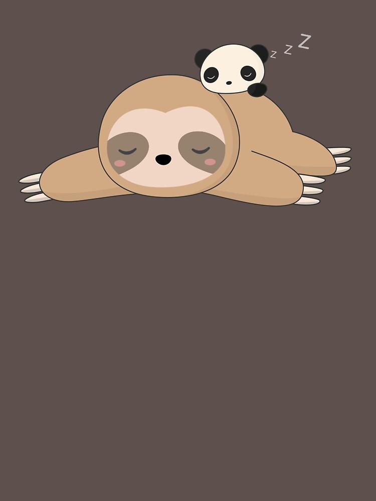 Cute Kawaii Lazy Panda and Sloth  by happinessinatee