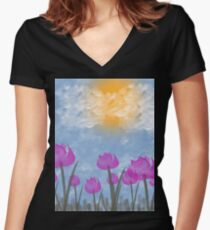 Beautifully Painted Flowers 2 Women's Fitted V-Neck T-Shirt