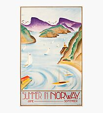 Vintage Travel Poster – Summer in Norway Photographic Print