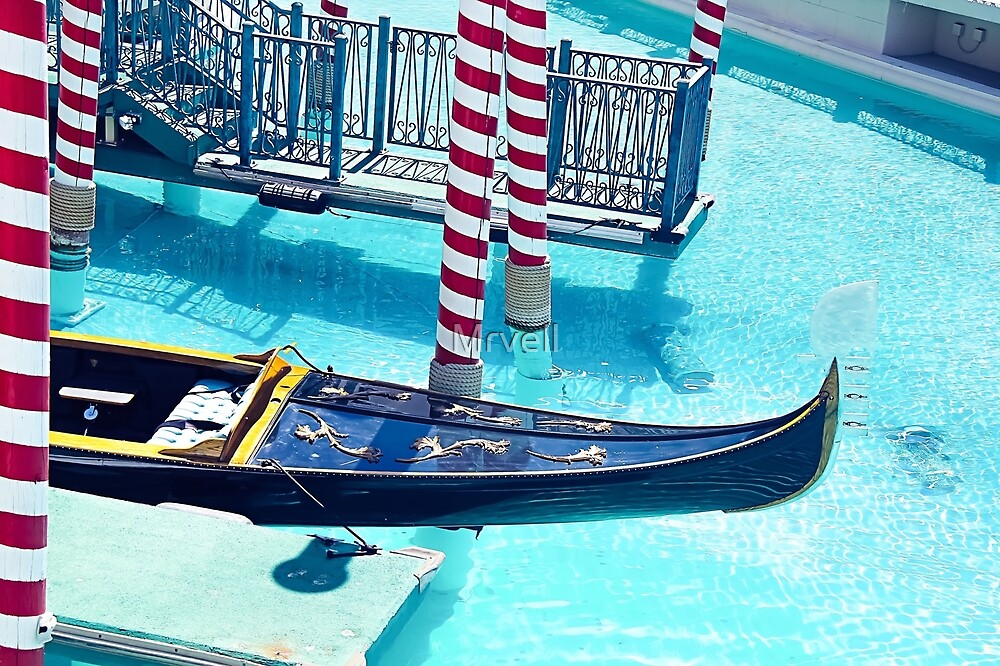 Classic Gondola boat and blue water by Mrvell