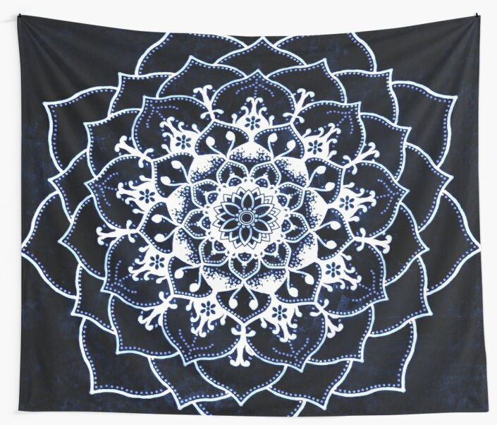 Indigo Glowing Spirit Blue & White Flower Mandala by ImageMonkey