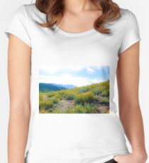 yellow poppy flower field with green leaf and blue cloudy sky in summer Women's Fitted Scoop T-Shirt