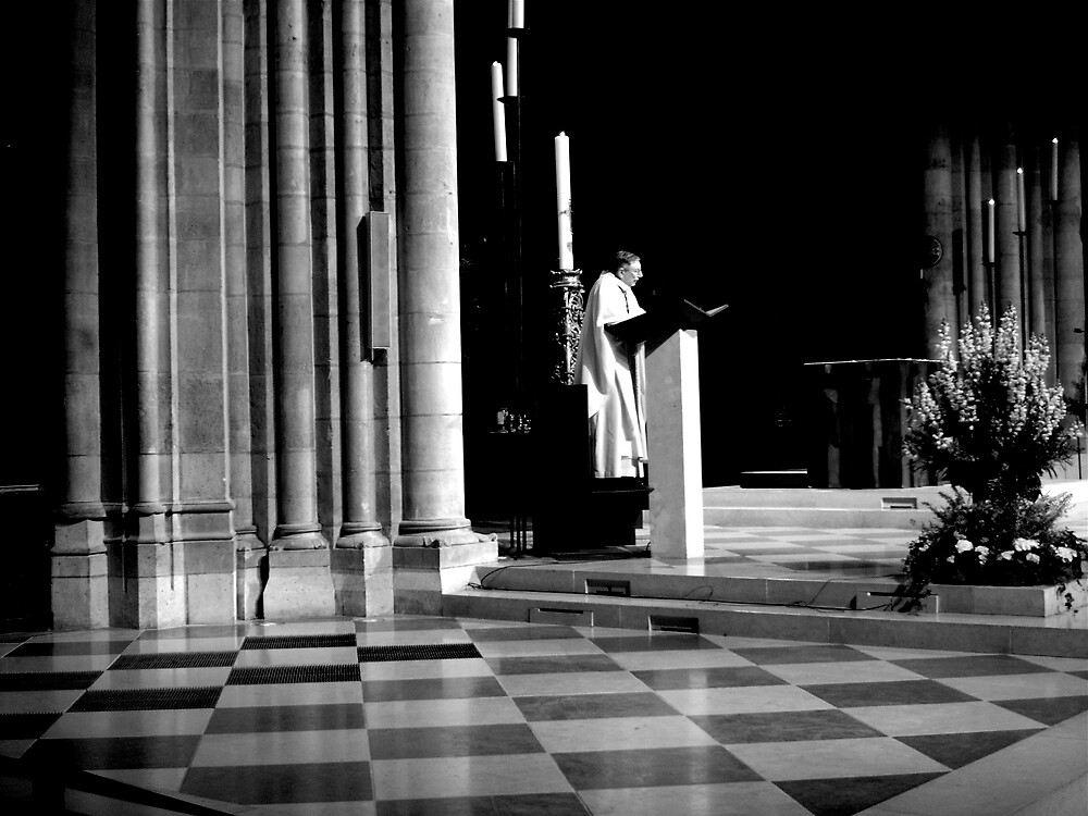 Early morning service at Notre Dame by George Swann