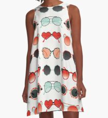 Sunglasses Collection – Red & Mint Palette A-Line Dress