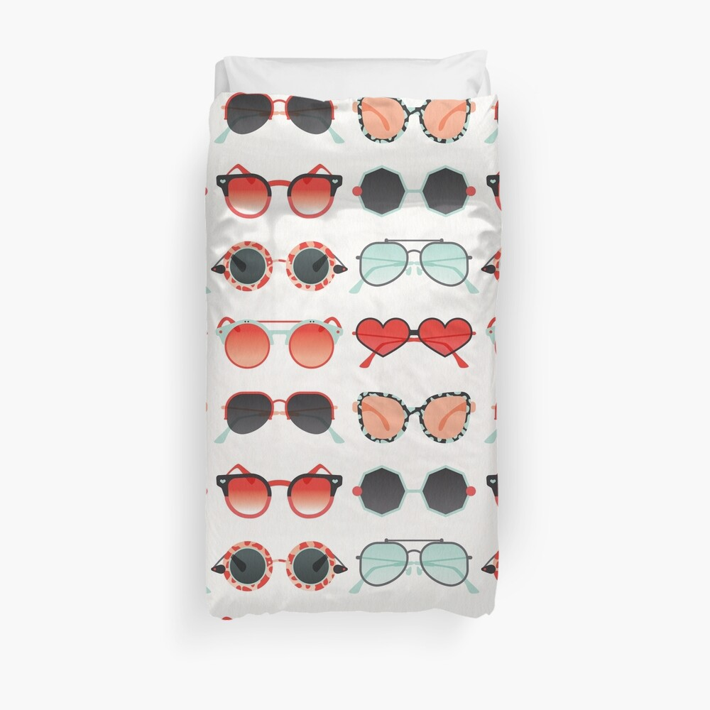 Sunglasses Collection – Red & Mint Palette Duvet Cover