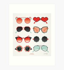 Sonnenbrille Kollektion - Red & Mint Palette Kunstdruck