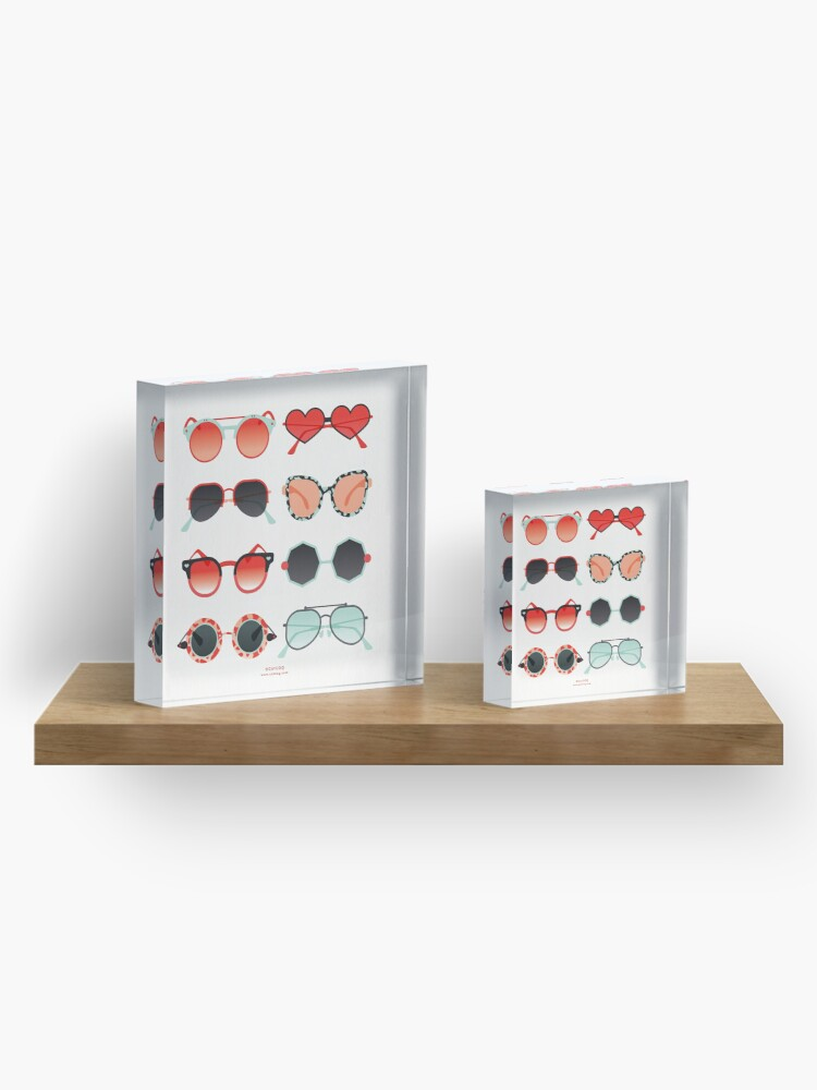 Alternate view of Sunglasses Collection – Red & Mint Palette Acrylic Block
