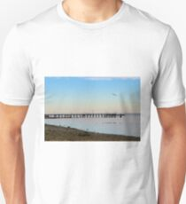 Beautiful Beach Sunset with Pier for Beach Lovers, Nature Lovers, Dorm Room Decor T-Shirt