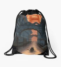 Through the River Gates Drawstring Bag