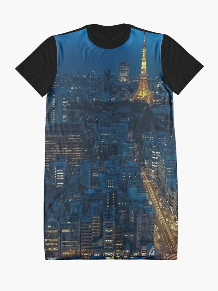Alternate view of Tokyo Night Skyline Graphic T-Shirt Dress