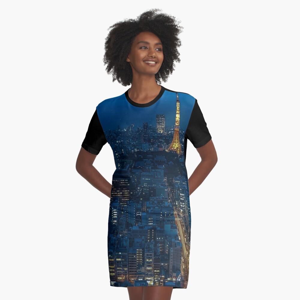Tokyo Night Skyline Graphic T-Shirt Dress