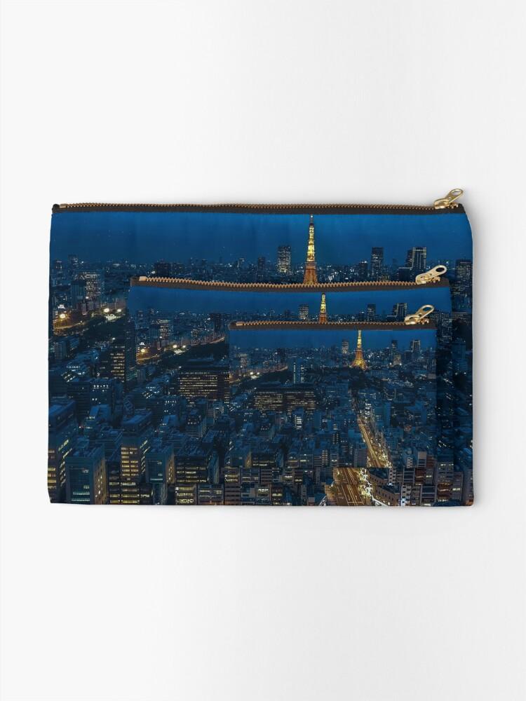 Alternate view of Tokyo Night Skyline Zipper Pouch