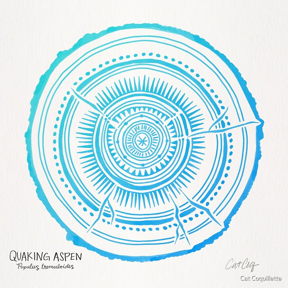 Quaking Aspen – Blue Ombré Tree Rings by Cat Coquillette