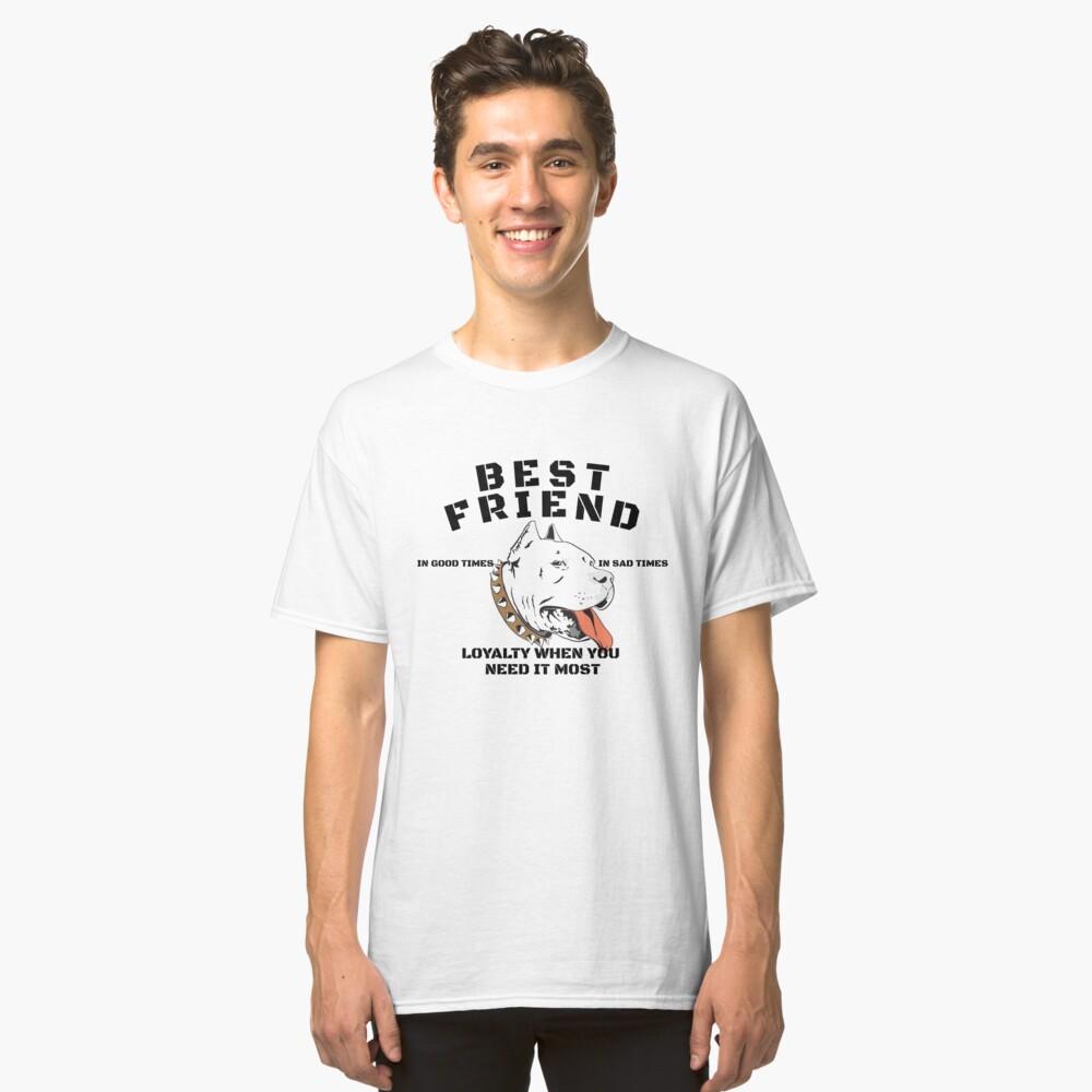 Pitbull Best Friend Art Design Classic T-Shirt Front