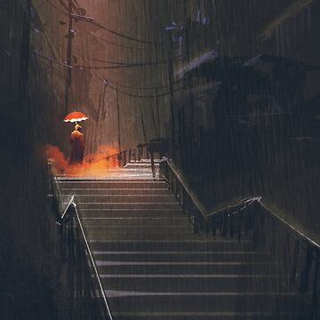 Red Umbrella on the Stairs Painting by bFred