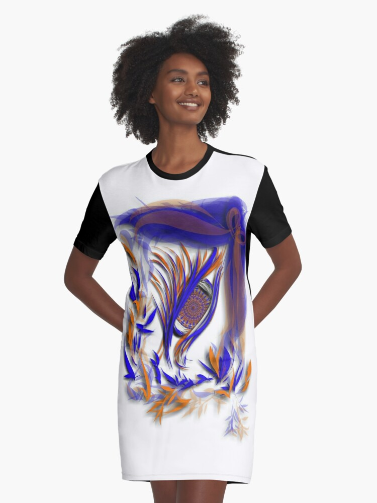 Watching in Broncos colors Graphic T-Shirt Dress Front