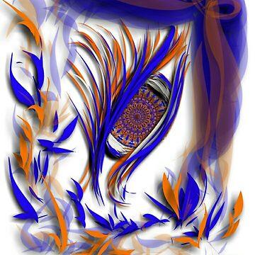 Watching in Broncos colors by TinaCruzArt1