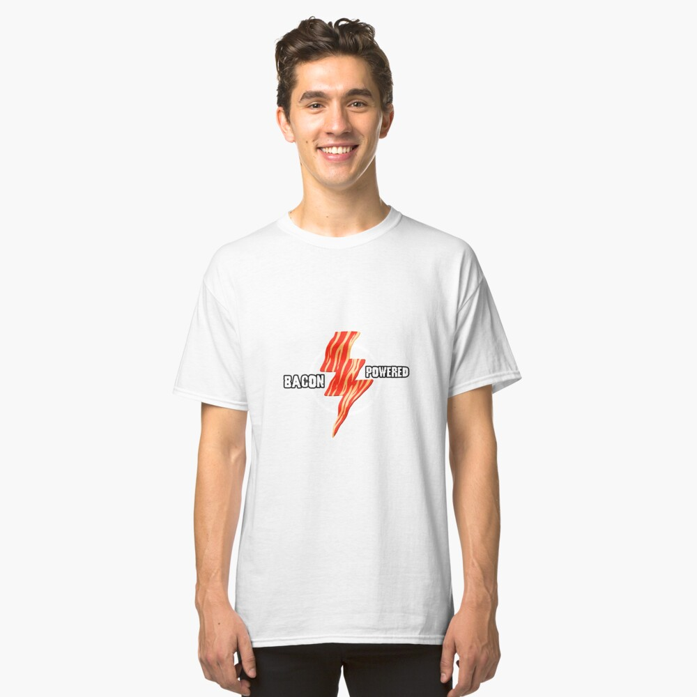 Bacon Power Lightening Art Design Classic T-Shirt Front