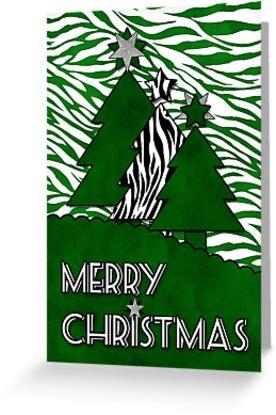 Bold Zebra Vibrant Green Hues Merry Christmas by Doreen Erhardt