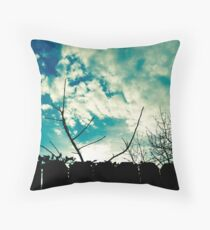 clouds trees and fence Throw Pillow