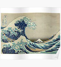 Great Wave T-Shirt - Hokusai Duvet Surfing Kanagawa Mount Fuji Sticker Poster