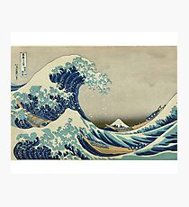 Great Wave T-Shirt - Hokusai Duvet Surfing Kanagawa Mount Fuji Sticker Photographic Print