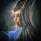 Spirit Guide  - American Indian with Raven by Michelle Potter