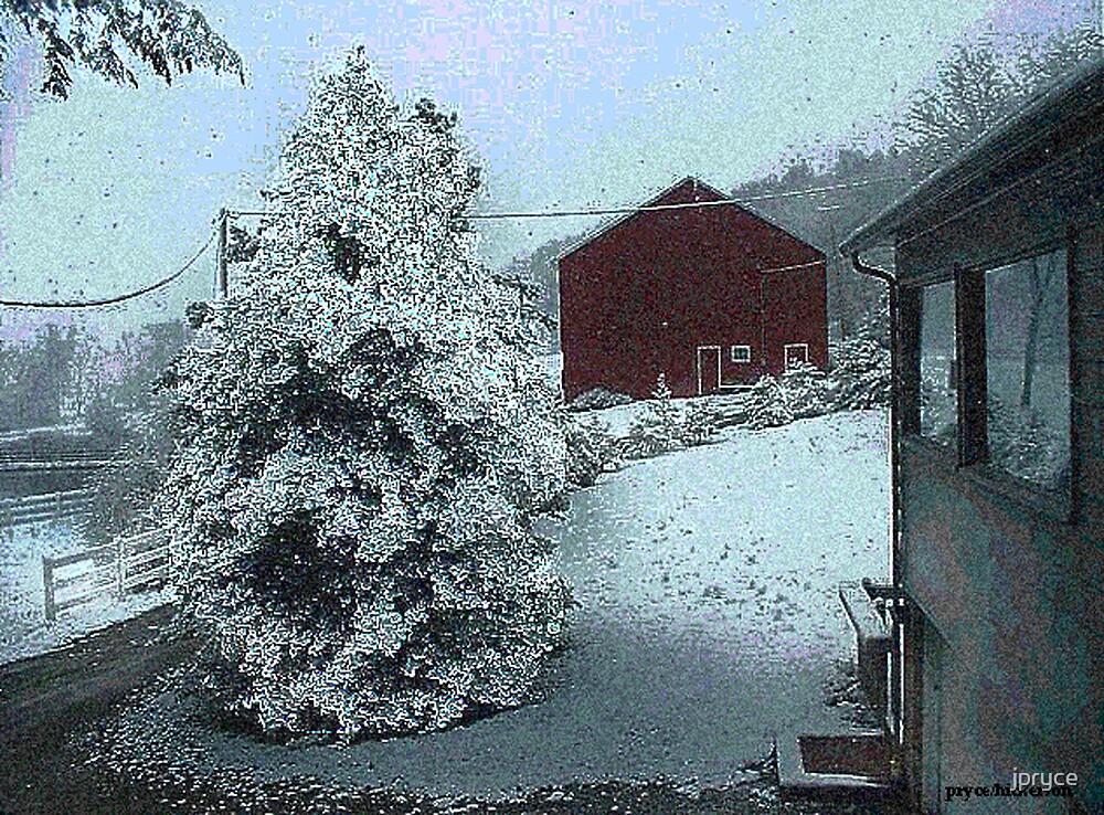 Red Barn in Snow by jpryce