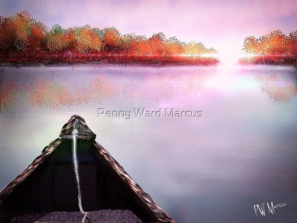 Autumn Sunset from Canoe by Penny Ward Marcus
