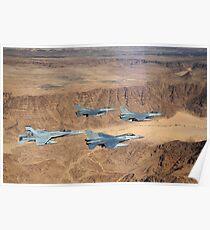 Military planes flying over the Wadi Rum desert in Jordan. Poster